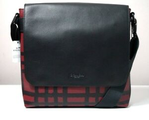 Coach Charles Wild Crimson/Black Plaid Print Small Messenger Bag F11186