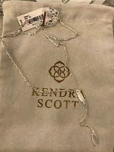 NWT Kendra Scott Fern Y Pendant Layering Necklace Bright Silver w pouch
