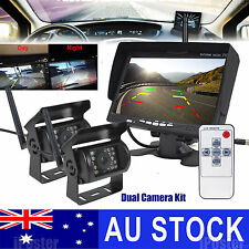 "2x Wireless Reversing Camera for Bus Truck Caravan Car 7"" Monitor Screen 12-24V"