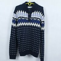 ANGELO LITRICO Mens Blue Norwegian Nordic Henley Jumper Sweater SIZE 2XL, XXL