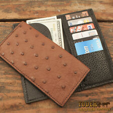 Brown Ostrich Rodeo Checkbook Wallet Amish Made Genuine Ostrich Skin Tall Wallet