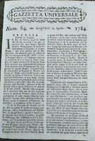 1784 GAZZETTA UNIVERSALE: MOSTRO MARINO A LA SPEZIA; BALLERINO AUGUSTE VESTRIS