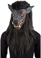 GRIGIO LUPO MANNARO maschera con capelli neri Vestito per Halloween Zombie cane