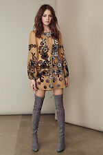 Boho Vintage Chiffon floral printed sheer loose long sleeve summer mini dress