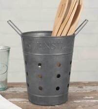 Vintage Rustic Primitive Metal Kitchen Utensil Portable Basket Caddy Holder