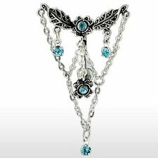Blue Top Down Chandelier Chain Dangle 14G Belly Navel Ring Body Jewelry Piercing