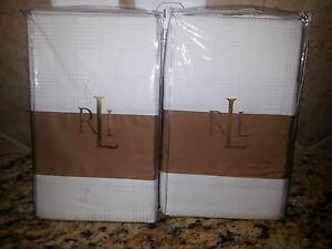 "New Ralph Lauren 2 European Shams- Lauren Suite Glen Plaid Camel/White 26 X 26"""