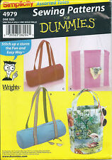 S 4979 sewing pattern Purse Handbag Duffel Sports & Tote Bags in 2 sizes Dummies