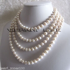 """68"""" 7-9mm White Cultured Fresh Water Pearl Strand Necklace Jewelry"""