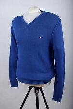 P643/60 Tommy Hilfiger Blue Cotton/Linen V Neck Jumper, size L
