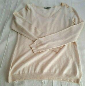 UNIQLO ladies V neck Cream marl soft Jumper Wool cotton Cashmere Medium