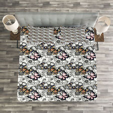Butterfly Quilted Bedspread & Pillow Shams Set, Summer Season Animal Print