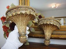 2 Wandkonsolen Set Floral Gold Konsole Antik Barock Wandregal Jugendstil Edel