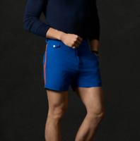 """$295 Ralph Lauren Purple Label Italy 5"""" Buckle Blue Swim Trunk Surf Board Shorts"""