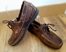 TIMBERLAND Brown Nubuck Leather Lace Up Boat Deck Shoes Mens 7.5 Slip On Loafer