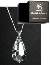 Silber 925 Hals-Kette mit Swarowski Kristall Tropfen schlicht in Schmuck Etui