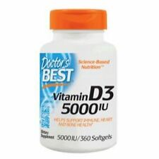 Vitamin D-3, 5000iu x 360 Softgels, Cold/Flus, Immune, Heart, Doctors Best,