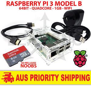 Starter Kit for Raspberry Pi 3 1.4 Case / 16GB SD / HDMI / Power / Switch