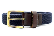 Larsson & Co Mens Fabric and Leather Stretch Belt Navy Blue and Brown Size M