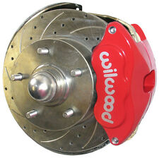 """SWS DISC BRAKE KIT,FRONT,64-72,2"""" DROP SPINDLES,11"""" DRILLED ROTORS,RED WILWOOD"""
