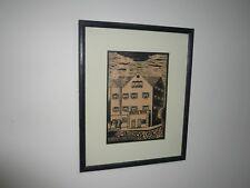 "VINTAGE SCREEN PRINT SIGNED RF ""RUTH FAERBER"" 1922-  AUSTRALIAN ARTIST"