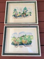 Stan David Original Signed Watercolor Paintings Set Framed Horse Buggy Landscape