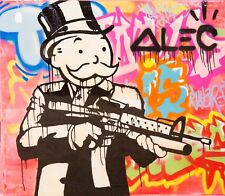 Alec Monopoly Graffiti Handcraft Oil Painting on Canvas,  Assault Rifle 32""