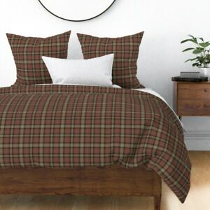 Gingerbread Plaid Tartan Brown Red Ross Hunting Sateen Duvet Cover by Roostery