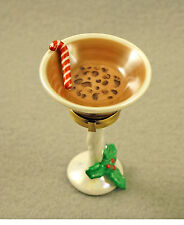 New French Limoges Trinket Box Chocolate Martini Drink In Glass With Holly