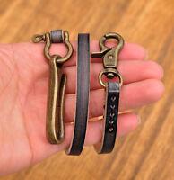 """21"""" Vintage Men's Trucker Biker Jean Veg Tanned Leather Wallet Chain With U HOOK"""
