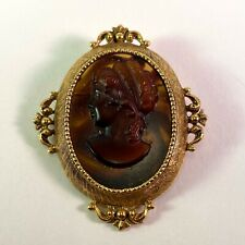 Florenza Cameo Brooch Faux Tortoise Shell Gold Border