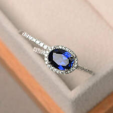 1.90 Ct Real Diamond Engagement Ring 14K White Gold Sapphire Band Sets Size 5 6