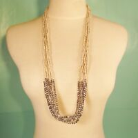 "32"" Long Multi Strand Natural Bohemian Style Handmade Silver Seed Bead Necklace"