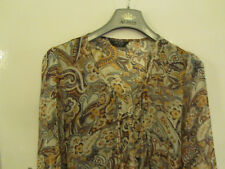 Moda George See Through Brown & Orange Floral Blouse Top Size 14 - like paisley