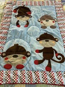 "VINTAGE Little Monkey Crib QUILT 34"" x 44"" #724"