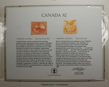 souvenir card PS 38 Canada 1982 1869 10¢ Shield and Eagle stamp