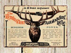 1907 Ad Remington Arms Autoloading Rifle Deer Hunting metal tin sign wall art