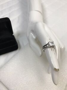 14k Solid White Gold Engagement Wedding Band Set Princess Cut Solitaire