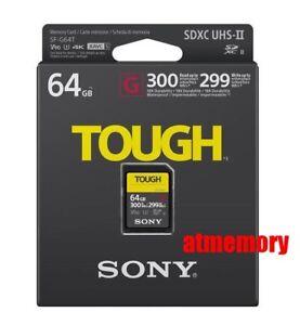 Sony 64GB SDXC Card TOUGH SF-G64T UHS-II 4K V90 300MB/s Read 299MB/s Write SD