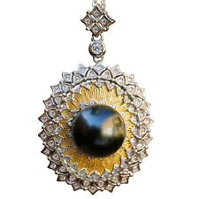 High luster 12mm Round Tahitian seawater Black Pearl Pendant Necklace S925 TH82