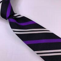 Lauren Ralph Lauren Mens Necktie Black Purple White Stripes Silk One Size