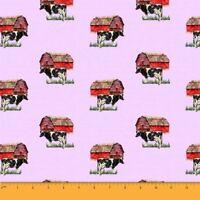 Soimoi Fabric Barn & Cow Farm Print Fabric by the Yard - FM-502O