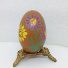 Vintage Hand Painted Carved Wood Egg Daisy Floral Design A