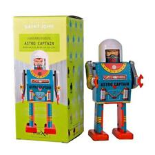"ASTRO CAPTIAN ROBOT 5"" Saint St. John Wind Up Tin Toy Collectible Retro Space"