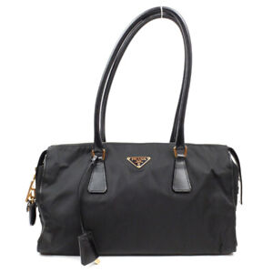 PRADA Handbag triangle logo nylon black