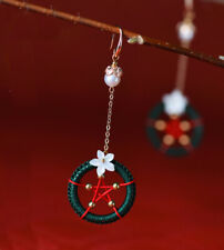 Green Circle with Red Star with Freshwater Pearl Long Earring