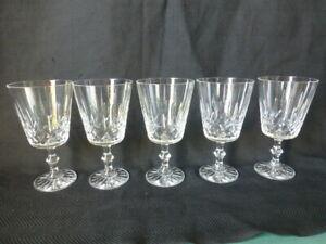 Five Vintage Elegant Crystal Glass Goblets
