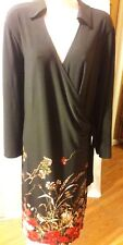 The Limited Plus Size Printed Black with Floral Bottom Wrap Dress Size 3X