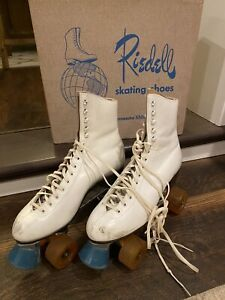 Vintage Riedell Sure Grip Super X 6L Women's Size 8 White Leather Roller Skates