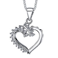 925 Sterling Silver CZ Dainty Ornate Heart Pendant Necklace with Cubic Zirconias